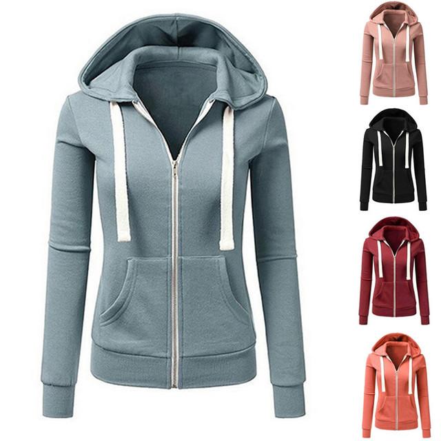 Women Hooded running jacket Long Sleeve Sweatshirt Ladies Yoga Sports Zipper Jacket Fitness Gym Shirts Women's