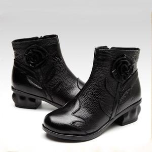 Image 3 - BEYARNE  2018 Autumn Fashion Women Genuine Leather Boots Handmade Vintage Flower Ankle Botines Shoes Woman Winter botas