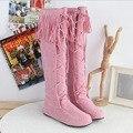 Botas sobre la Rodilla Alto botas planas niñas Mujeres botines de caña alta popular estrella de La Borla de encaje zapatos de tiras negro rosa alta calidad