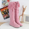 Over the Knee High flat boots girls Women thigh high booties strappy popular star Tassel lace up shoes pink black high quality