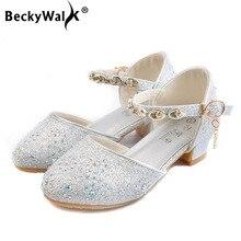 Летние сандалии принцессы для девочек детская обувь для девочек модельные туфли вечерние блестящие свадебные сандалии на высоком каблуке детская обувь CSH828