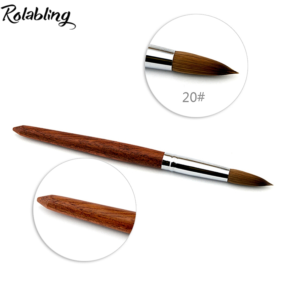 ФОТО 2017 5pcs/Lot Size 20# High Quality 100% Kolinsky Sable Pen With Red Wood Handle Nail Brush for Professional Nail Salon
