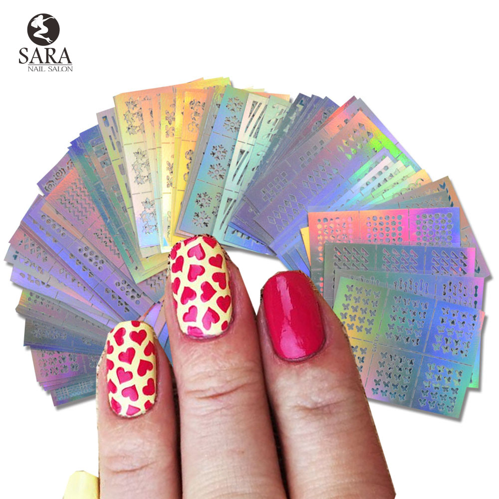 63pcs/set Fashion Nail Vinyls Hollow Irregular Grid Stencil Reusable Manicure Stickers Stamping Template Nail Art Tools SANJ215 3 designs in 1 sheet laser vinyls nail hollow sticker gold grid irregular patterns tips tool for nail art stencil manicure sa350