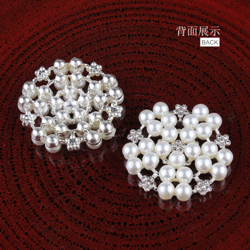120PCS 33mm Newborn Round Flatback Metal Rhinestone Craft Supplies Button  Shiny Pearl Beads Decorative Buttons for Flower Center-in Buttons from Home  ... c368aaf029e9