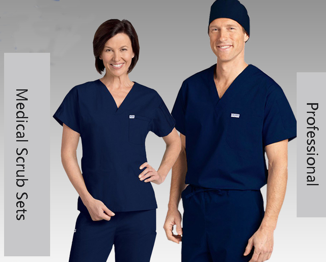 Medical Men's Short Sleeve Scrub Sets Doctors Nurses Workwear ...