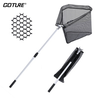 Goture Fishing Net 150cm 210cm Landing Net Triangular Landing Net 2 3 Sections Telescoping Pole Rubber
