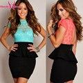 Coral Цветочные Кружева Баски Dress Новый Сексуальный Женская Мода Офис Короткие Club Wear Dress Bodycon Повседневные Платья