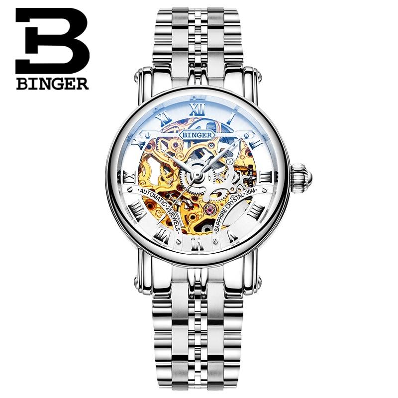 Svizzera delle Donne di lusso orologi di marca BINGER Scava Fuori Orologi Da Polso Meccanici zaffiro acciaio pieno orologio B 5066L6-in Orologi da donna da Orologi da polso su  Gruppo 3