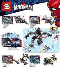 4 IN 1 Marvel Avengers Super Heroes Spiderman Spider Man Vs Venom Mech Building Blocks Brick Toy Compatible With Sermoido