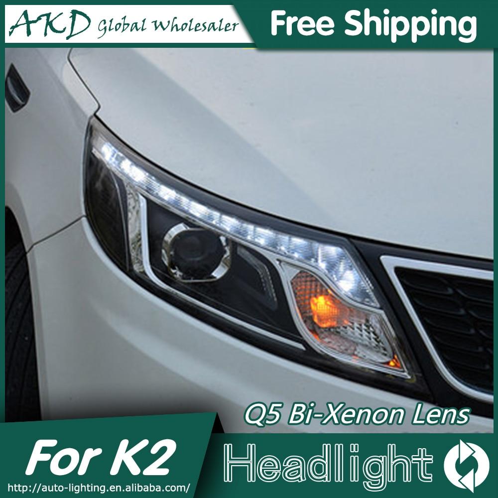 AKD Car Styling for Kia K2 Rio Headlights 2011-2014 Korea Design K2 LED Headlight LED DRL Bi Xenon Lens High Low Beam Parking автоинструменты new design autocom cdp 2014 2 3in1 led ds150