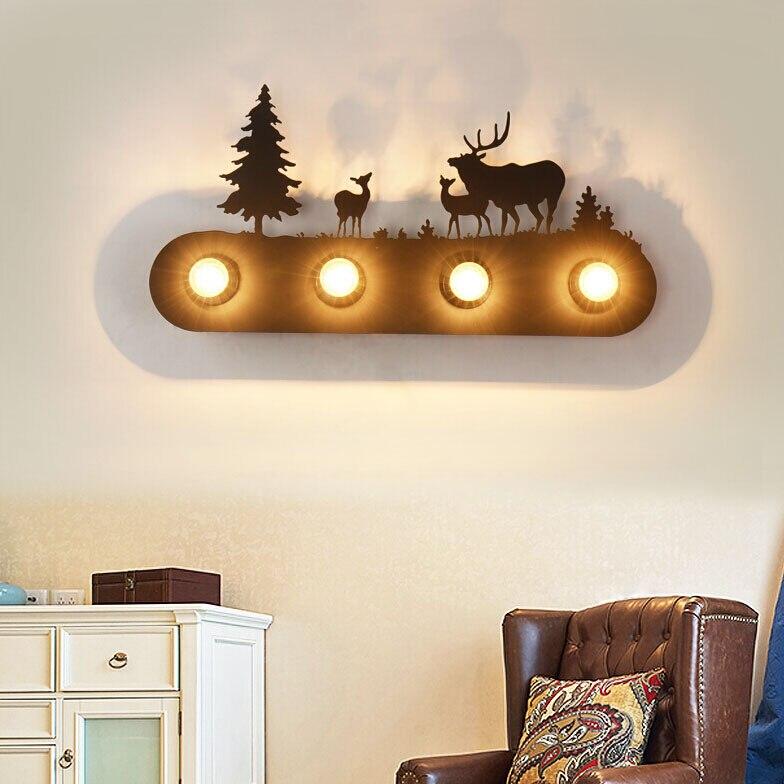 Loft retro industrial wall lamp balcony Nordic creative American bedroom bedside iron wall lamp aisle bar