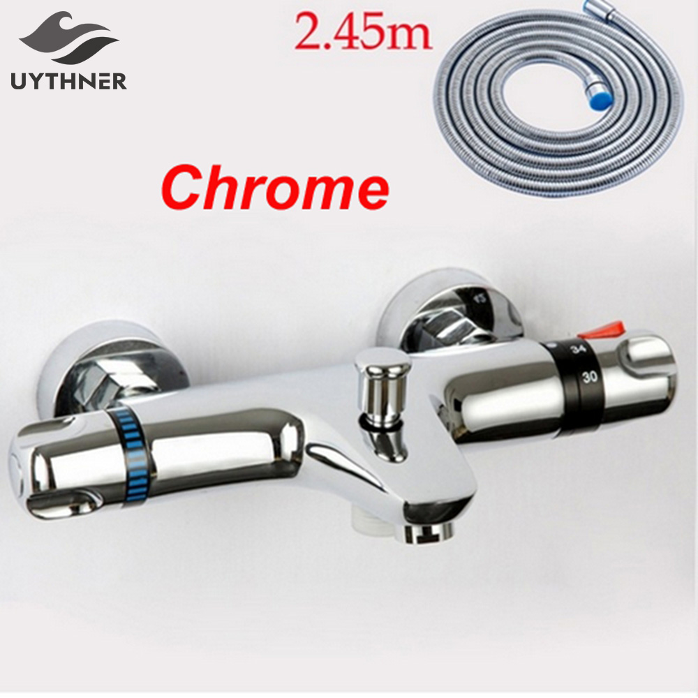 Newly Arrival Bathroom Replacment Thermostatic Tub Mixer Faucet Handheld Shower Valve with Diverter Chrome Finish