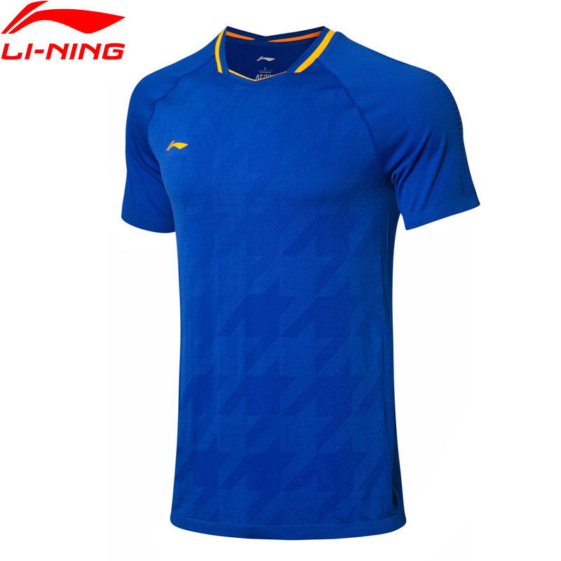 Li Ning Men Badminton Competition AT DRY T Shirts Polyester Nylon National Team Fans Version LiNing