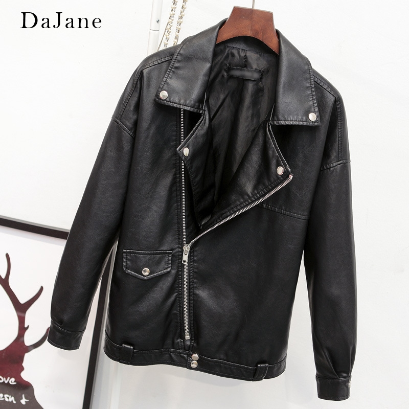 Brand Business Bf Loose Lapel Locomotive Pu   Leather   Ladies Oversize   Leather   Jacket Coat Korean Version Of The Thin Tide