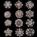 Combinação de 12 peças Banhado A Ouro e Diamante Claro Flor Forma Broches Pequenos ou Chapéu Cachecol Alfinetes de Lapela