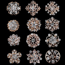 combo of 12 pieces Gold Plated and Clear Diamante Flower Shape Small Brooches or Scarf Hat Lapel Pins