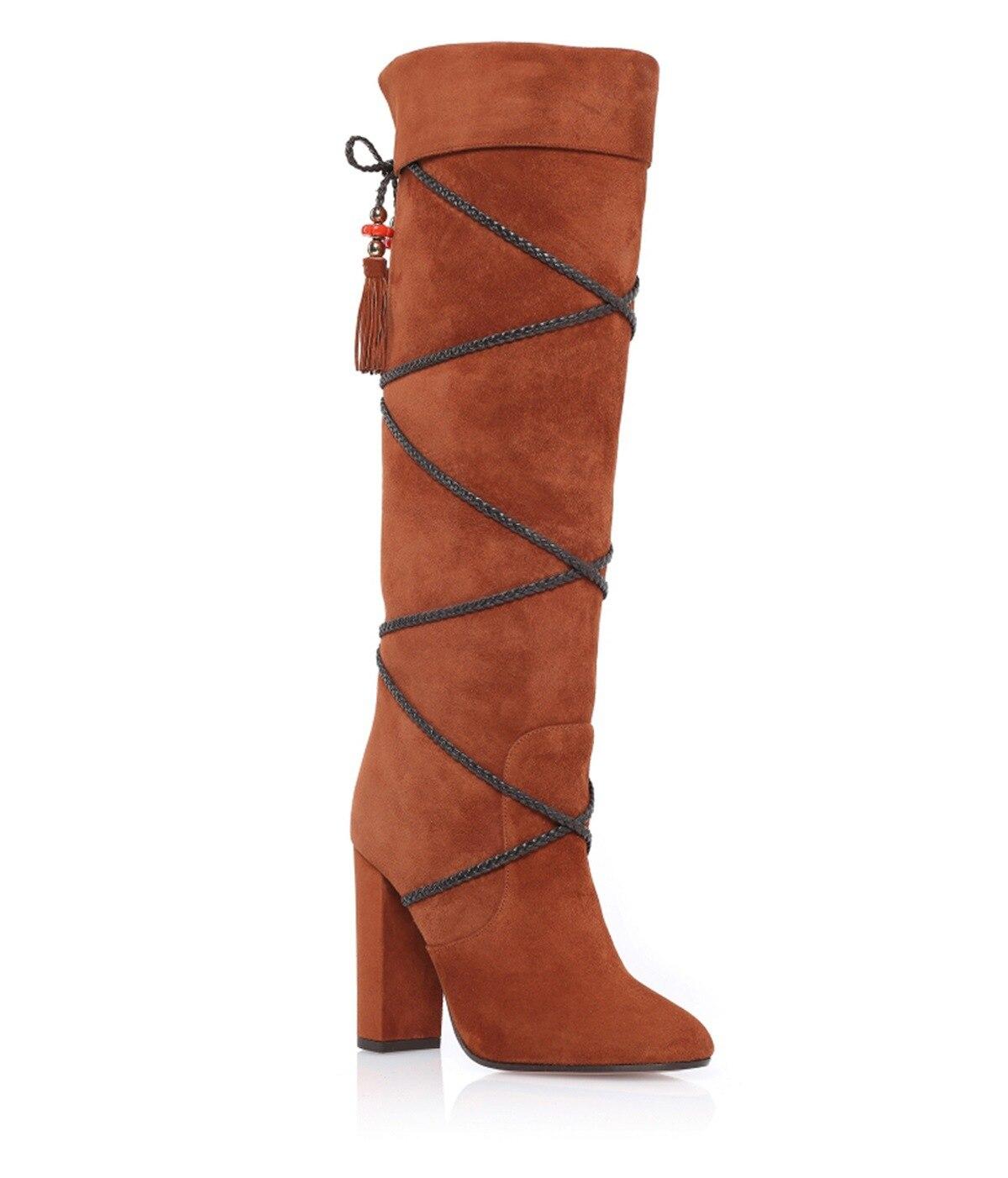 Сексуальные женские коренастый блок каблук колено высокие сапоги крест Starp Обувь На Шнуровке замшевые d5
