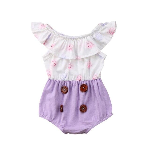 8d19dc0e39b3 Floral Romper Newborn Infant Baby Girl Floral Patchwork Romper ...
