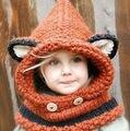 Зимние Девушки Лиса Шарф Шапка Воротник Шерсть Вязаный Крышка Младенца детская Шляпа