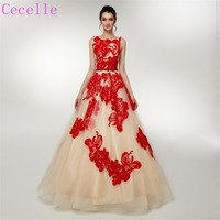 2019 Champagne Red Ball Gown Long Evening Dresses Sleeveless Low Back Princess Formal Evening Gowns Celebrity Dress