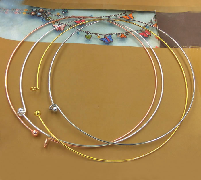 Wired Choker Necklace Collar Circle Ring Lock Necklaces Brass Metal DIY Findings European Charms Accessories Multi-color Plated circle