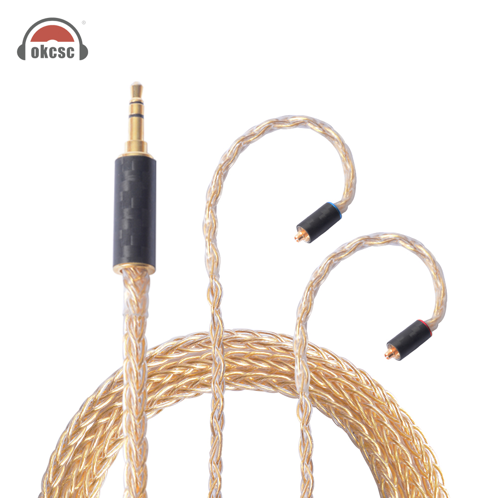 OKCSC Helios Au 56 Cores Earphone Upgrade Cables MMCX Jack Pure Silver Real Gold Plated 3