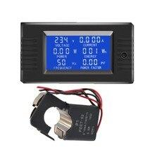 Peacefair AC 6in1 220V 100AแผงAmpermeterอิเล็กทรอนิกส์แรงดันไฟฟ้าวัตต์Kwh Power Factorความถี่แยกCT