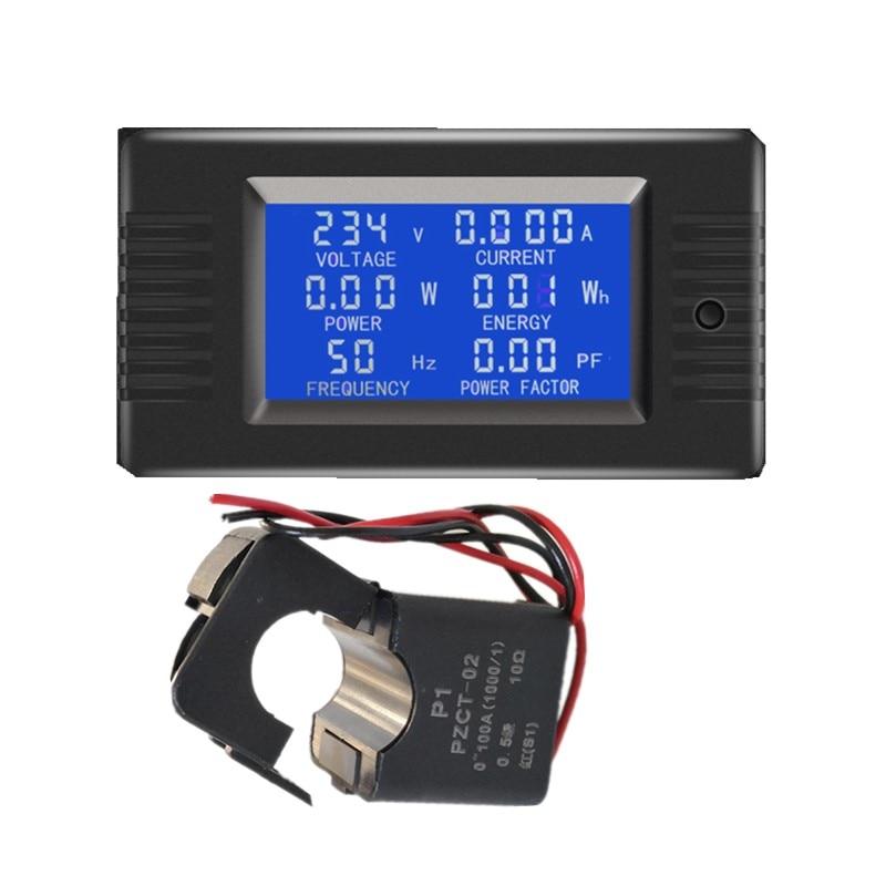Medidor eletrônico da frequência do fator de potência do watt kwh da tensão da carga do ampermeter do painel de digitas da c.a. 6in1 220v 100a com ct rachado