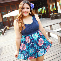 One Piece Swimwear Women Plus Size Print Bathing Suit Padded Skirt Swimming Suit Large Size