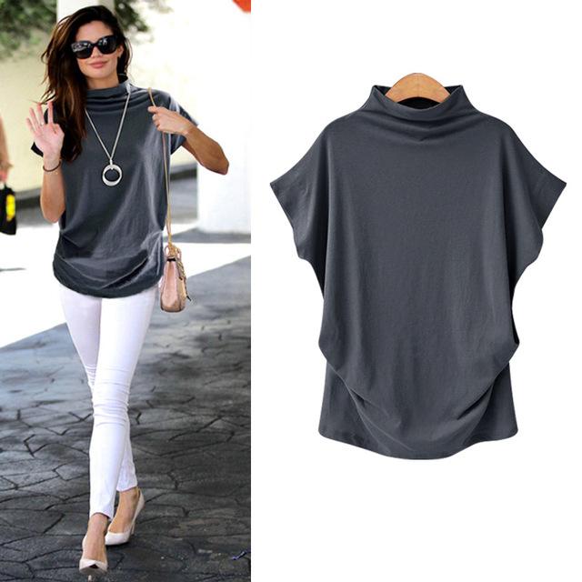 Women Tops Korean Style Fashion Womens Cotton Blouse Short Sleeve O-Neck Blouse Large Size S-7XL Female Blouse
