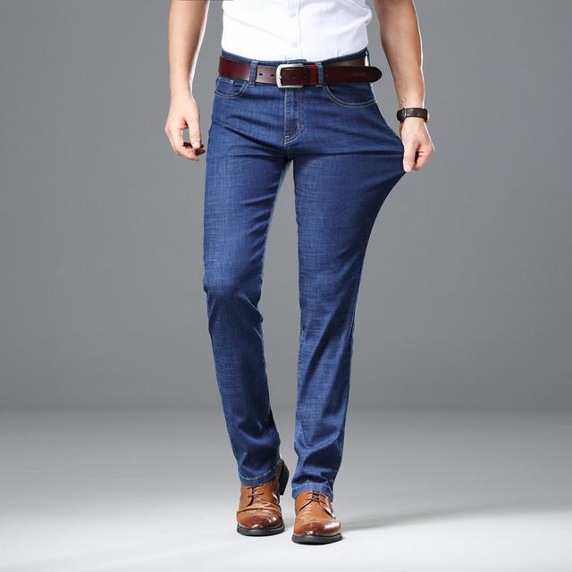 2019 Light Jeans Men Male Straight Fit Pants Classic Jeans Men Denim Elasticity Fashion Trousers Utr Thin Pants Light Blue