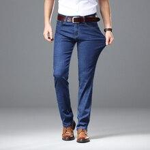 2019 kalın sonbahar kış kot erkekler erkek düz Fit pantolon klasik kot erkek kot esneklik moda pantolon ağır