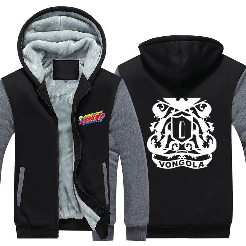 Winter Jackets and Coat Katekyo Hitman Reborn hoodie Anime Timoteo Hibari Kyoya Thicken Warm Men Sweatshirts CM430
