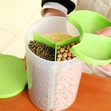 Kitchen magical grains multi-compartment storage tank sealed cans triple classification grains snack 1500ML Canisters