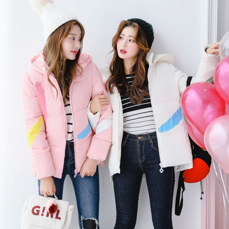 Cute bestie short jacket female students all-match paint cotton padded coat down warm woman hooded short parka pink green kawaii