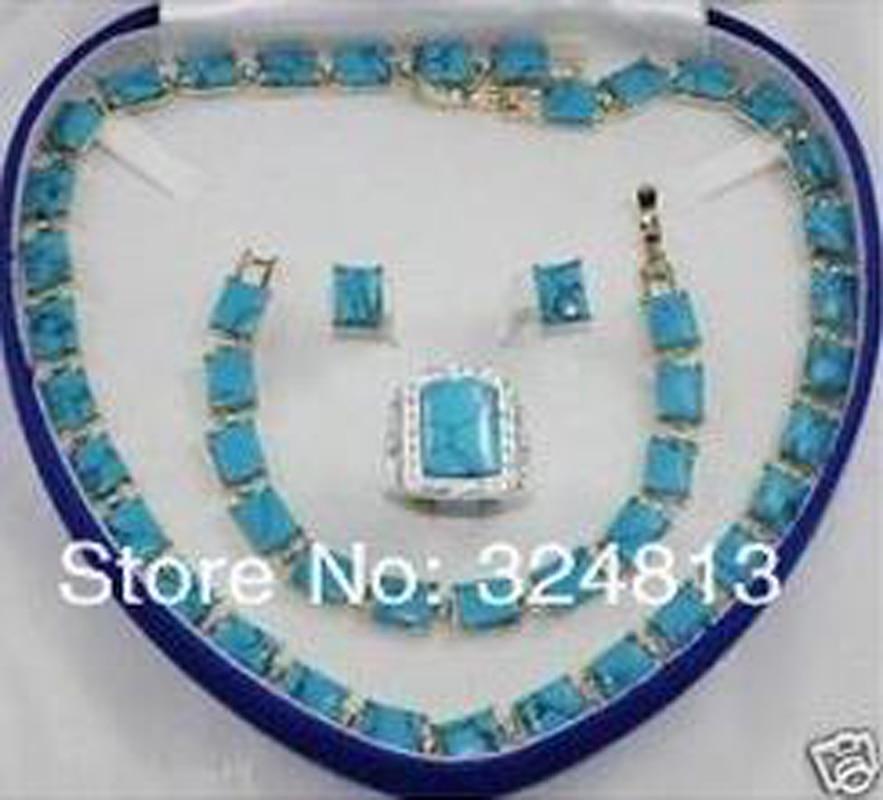 Nouveau collier de bijoux de mariée pour femme bracelet bague boucle d'oreille ensemble dames AA265 - 3