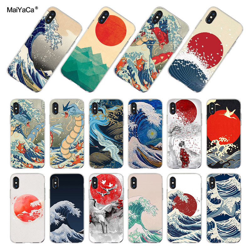 MaiYaCa For iphone 7 X 6 XR XS MAX Case Wave Art Japanese Green Illust Coque Phone Cases for iPhone 8 7 6 6S Plus X XS XR XSMAX форма для нарезки арбуза