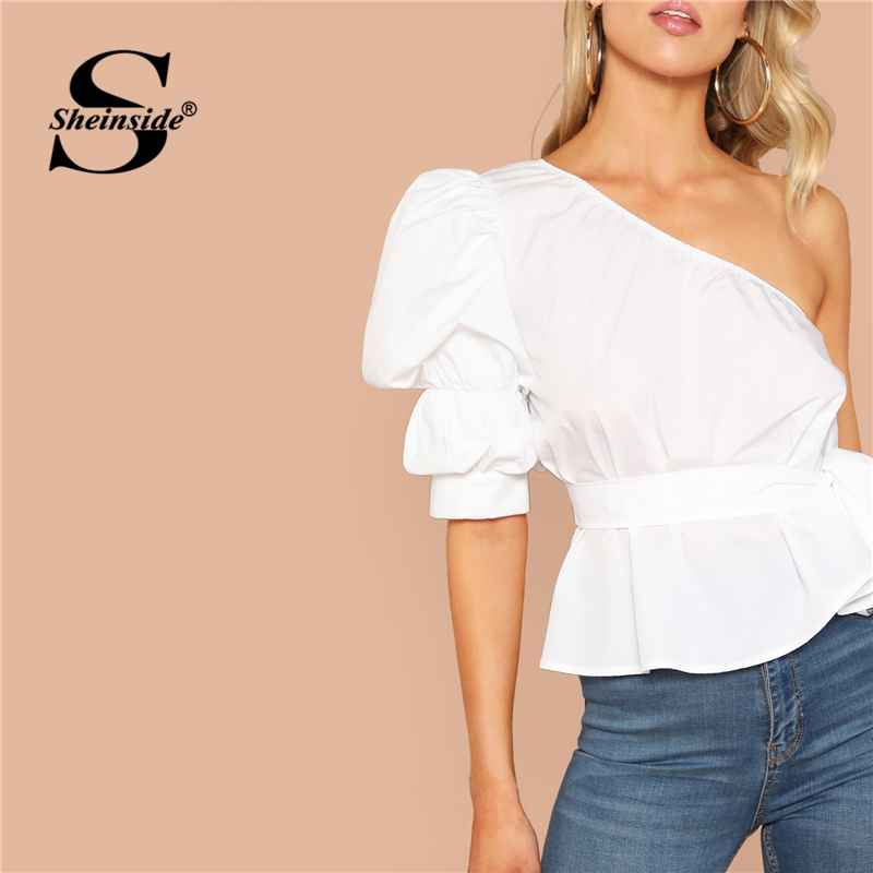 Sheinside One Shoulder Puff Sleeve Sexy Blouse Asymmetric Belted Solid Peplum Top 2019 White Summer Blouses Elegant Women Tops