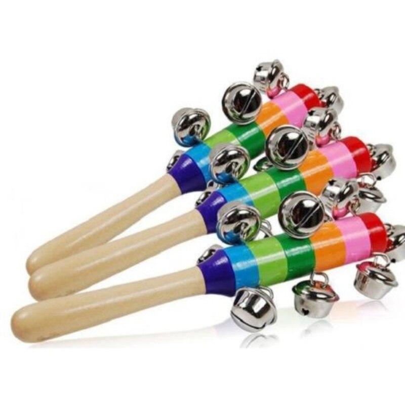 Wooden Stick 10 Jingle Bells Rainbow Hand Shake Bell Rattles Baby Kids Children Educational Toy