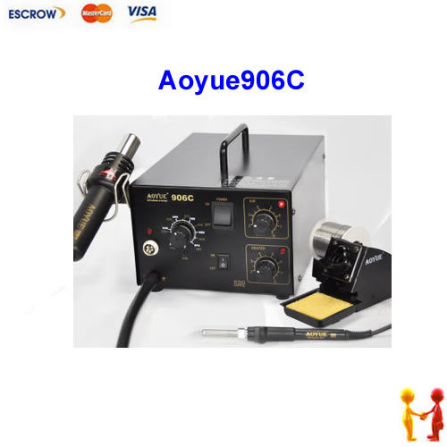 Aoyue906C 2 in 1 desoldering station, Aoyue 906C hot air soldering station. with air pump hot air gun sodering iron 220v lead free repairing system desoldering station of aoyue 2702a hot air gun desoldering gun