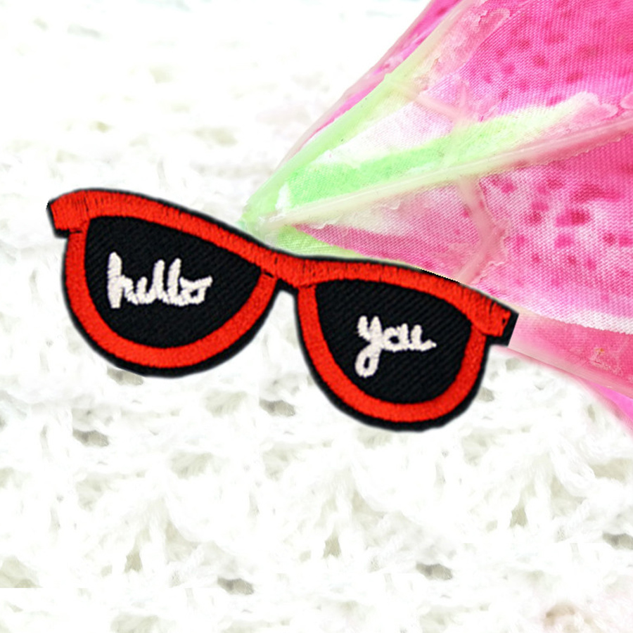 1Pcs Sunglasses Patches Iron On Or Sew Fabric Sticker For Clothes Badge Patch Embroidered Appliques Clothing Shoes Hats DIY