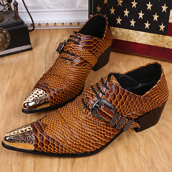 Top quality men pointed toe Snakeskin pattern genuine