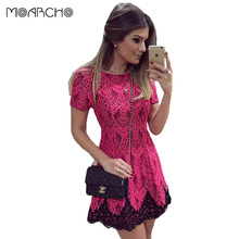 2016 Spring And Autumn Women Dress Short Sleeve O-Neck Pink Lace Dresses Sexy Party Elegant Straight Bodycon Slim Clothes.