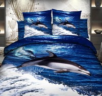 3D Blue ocean dolphin bedding sets bedspread duvet cover cal king fitted cotton bed sheets queen size double quilt bedsheet 5pcs