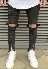 TOP males's designer man pants model slp zipper justin bieber rockstar black distressed ripped skinny concern of god denims