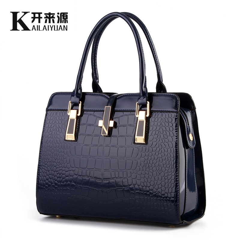 KLY 100% Genuine leather Women handbag 2018 New bright patent leather crocodile pattern fashion shoulder shoulder ladies bags kly 100
