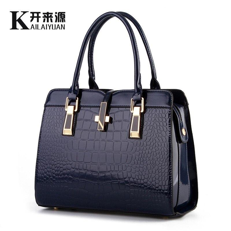 KLY 100% Véritable cuir Femmes sac à main 2018 Nouveau en cuir verni brillant crocodile motif épaule de mode épaule dames sacs