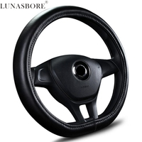 Car Steering Wheel Cover Leather D Ring For Volkswagen VW Golf 7 GTi Mk7 Scirocco Sagitar