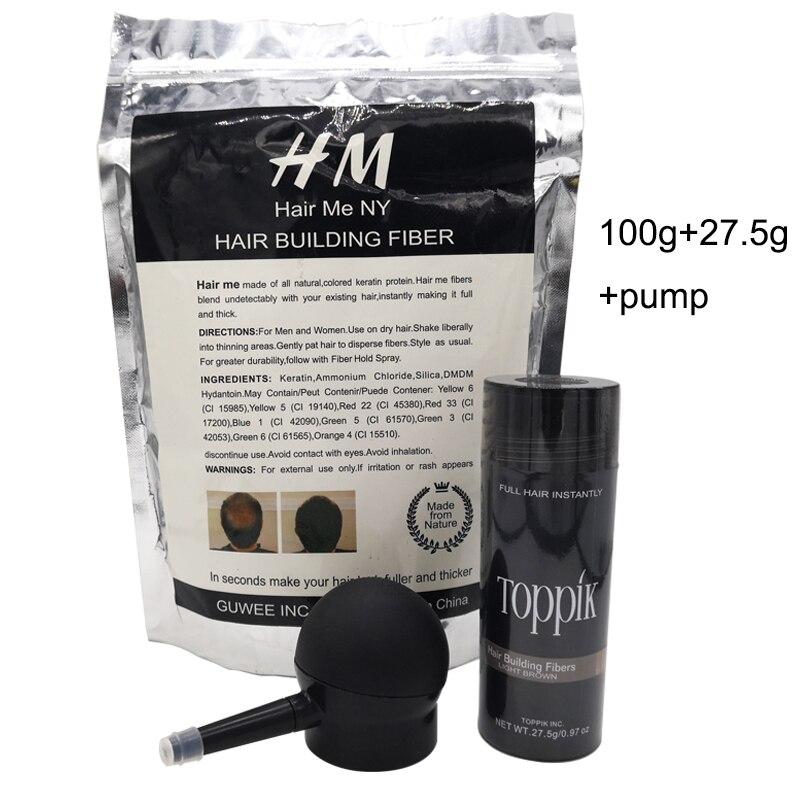 Toppik fiber della costruzione dei capelli in polvere 25g bottiglia di fiber spray applicatore/pompa aggiungere refill bag 100g fiber dei capelli 3 pz/lotto
