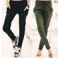Ocasionales Flojos de las mujeres Bolsillos Color Sólido Lazo de La Cintura Pantalones de Harén